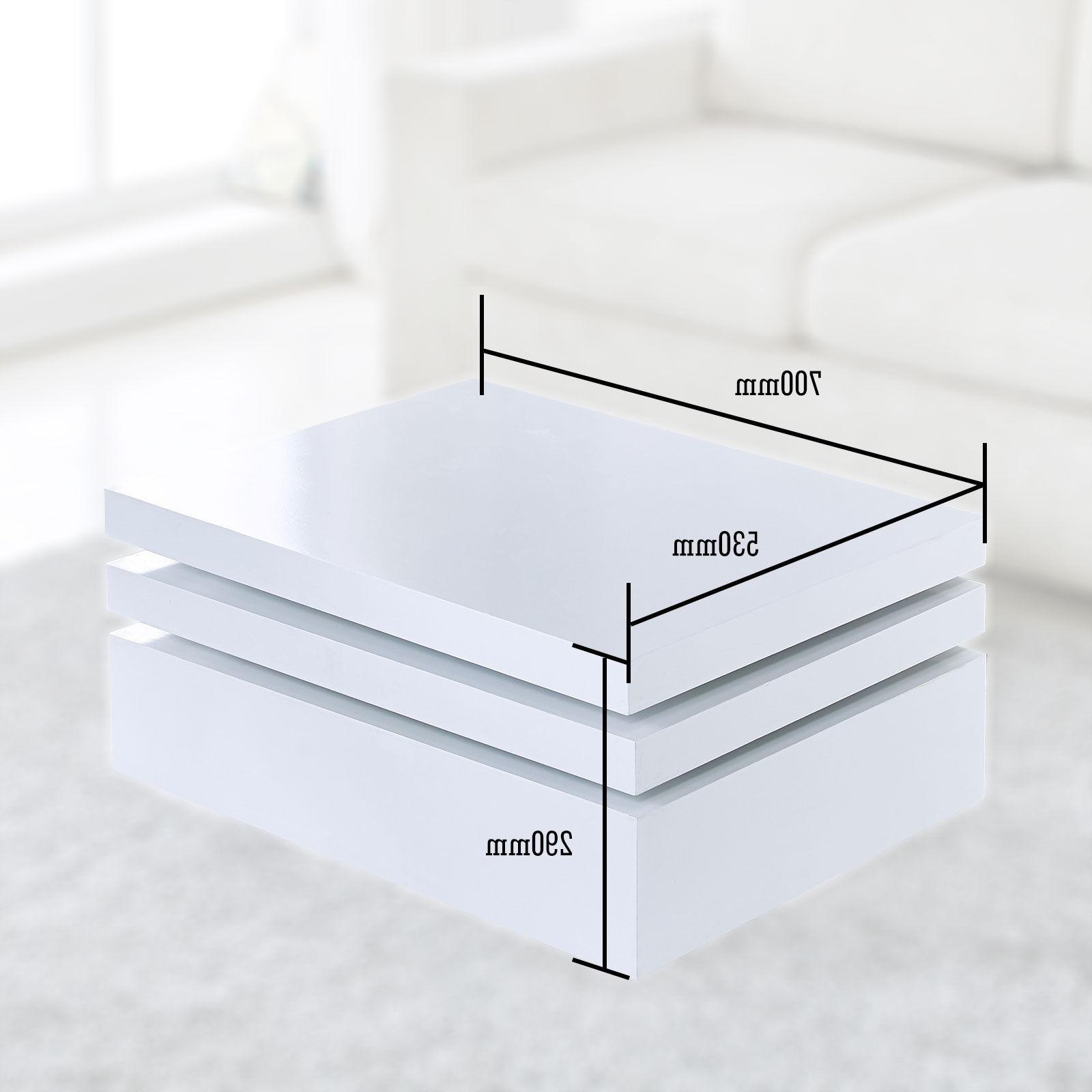 White Square Coffee Table Rotating Contemporary Modern Living Room NEW