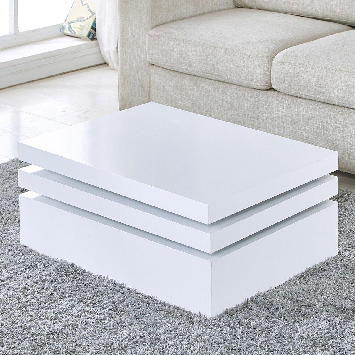 White Coffee Table Rotating Living Room NEW