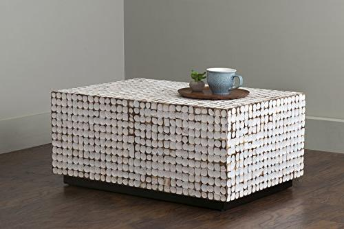 East Main Wilkenson White Inlay Rectangle Coffee Table,