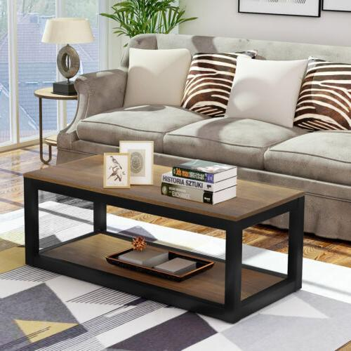 wood coffee table cocktail rectangle metal frame