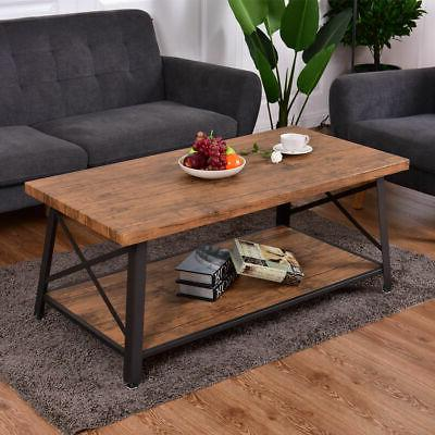 Wood Coffee Table Cocktail Sofa Side Table Rectangle Metal F