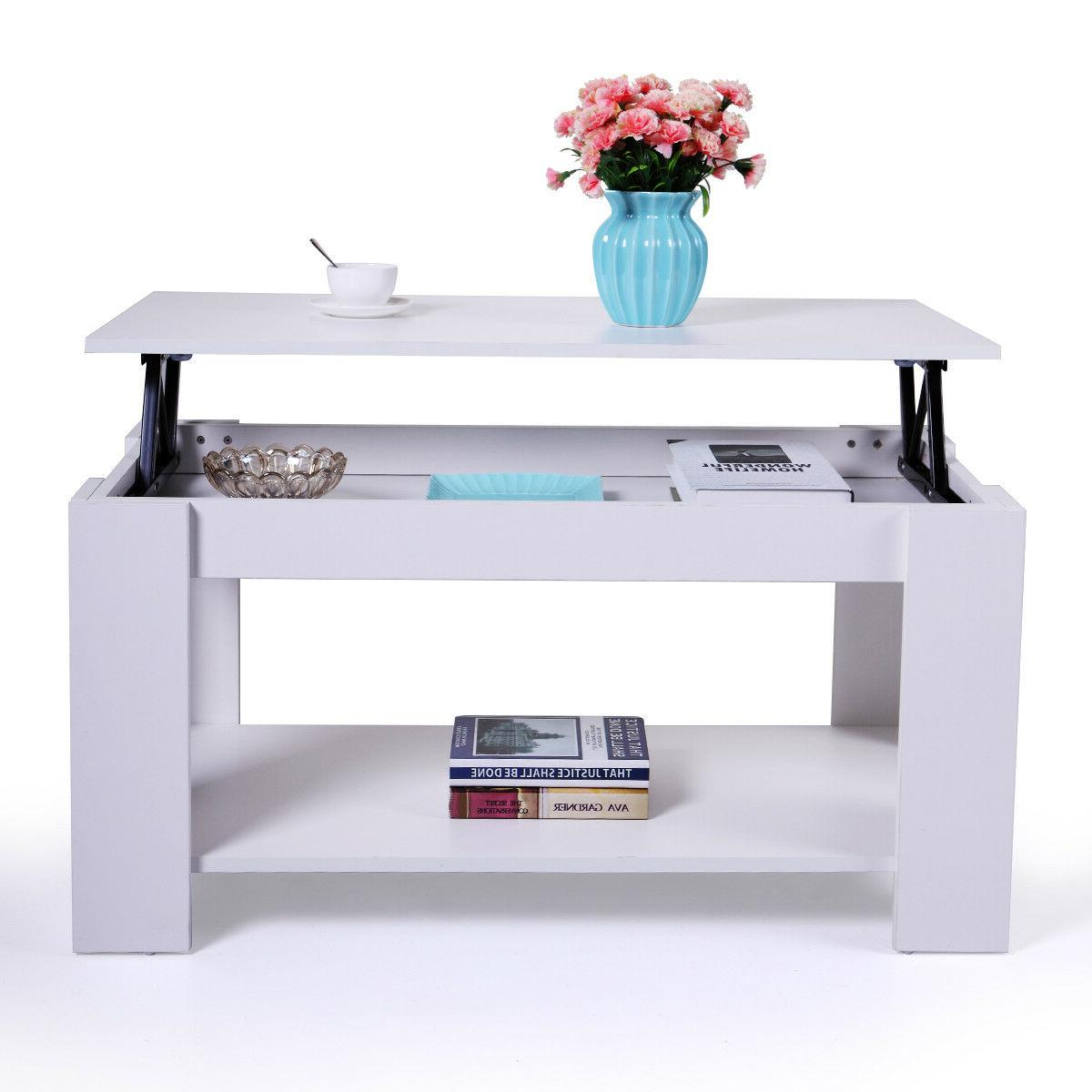 Wood Lift Table with White Living Room