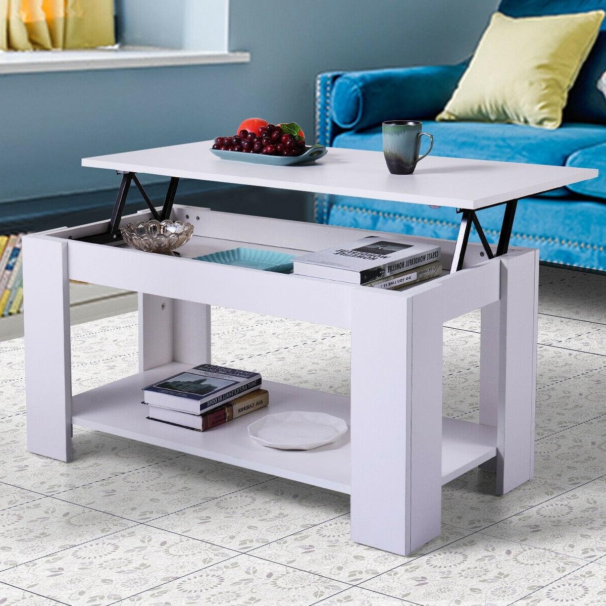 Wood Lift Table White Living