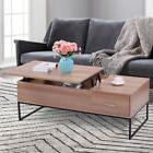 Wood Lift Top Tea Table Coffee Desk W/Storage Drawer Living
