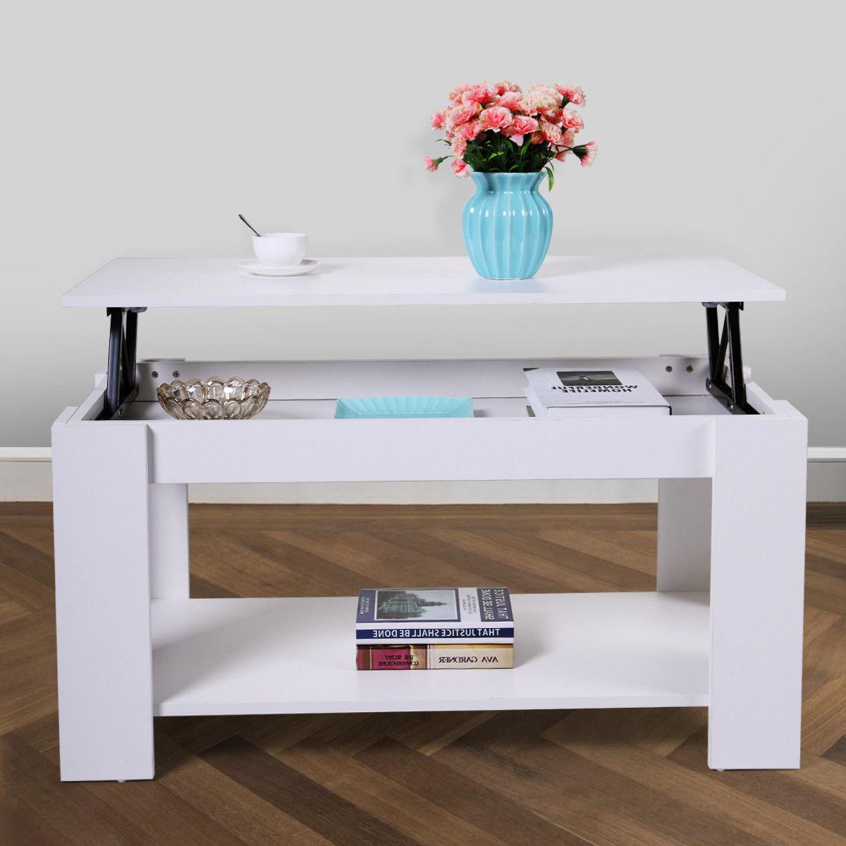 Wood Modern Lift Top Coffee Table with Storage Space Living
