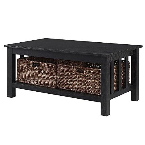 """WE 40"""" Wood Storage Coffee Table with Totes"""