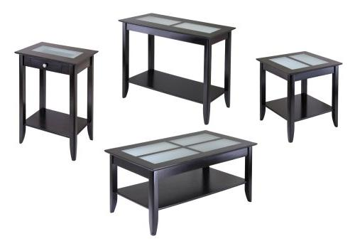 Winsome Wood Syrah Table Frosted Glass - x 18.0 - Glass, - Dark