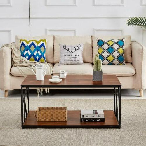 Wood Table End Table Rectangle Coffee Table Living Room Easy