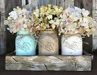 Wood Tray 3 Ball Canning Jars +FLOWERS Table Centerpiece HAN
