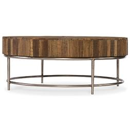 "Hooker Furniture L'Usine 44"" Round Coffee Table in Medium Wo"