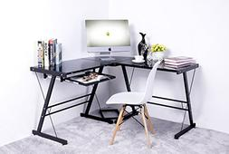 Merax L-shape Computer Desk with Black Glass, Black