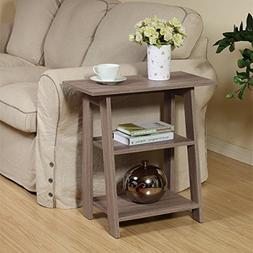 Ladder Chairside End Table Rustic Grey Oak By Home Concept -