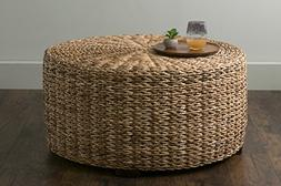 East At Main Langdon Brown Round Abaca Coffee Table,