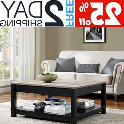 Large Square Coffee Table With Storage Black Wood Wooden Mod
