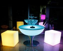 LED Illuminated Coffee Table & Cube Chair Color Changing Coc