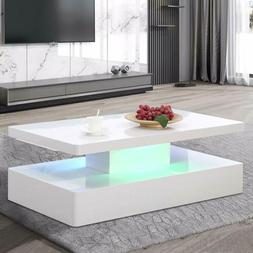 LED Lighting Coffee Table Modern High Gloss White w/ Remote