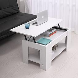 JAXPETY Lift up Top Coffee Table with Under Storage Shelf Mo