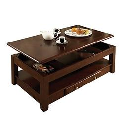 Lift Top Coffee Table Cocktail Cherry Finish Solid Wood Draw