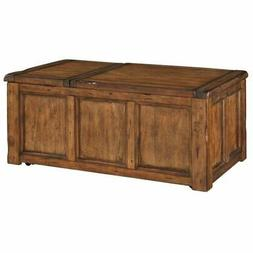 Bowery Hill Lift Top Coffee Table in Distressed Medium Brown
