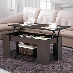 Yaheetech Lift up Top Coffee Table with Under Storage Shelf