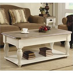 Beaumont Lane Lift Top Rectangular Coffee Table in Dover Whi