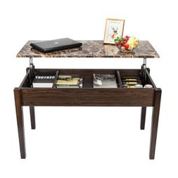Lift Top Coffee Table Imitation Marble w/ Hidden Compartment
