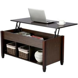 Lift Top Coffee Table w/3 Hidden Compartment Storage Shelf L