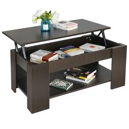 Lift Top Coffee Table w Hidden Compartment Storage Shelf Liv
