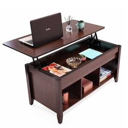 Lift Top Coffee Table w/Hidden Compartment and Storage Shelv