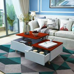 Lift Top Coffee Table w/ Hidden Storage Drawer&Compartment L