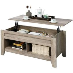 Lift Top Coffee Table w/Hidden Storage Compartment Open Shel