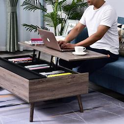 Lift-top Coffee Table with Storage Compartment, Metal and Gr