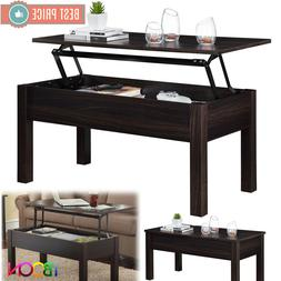 Lift Up Top COFFEE TABLE Solid Wood With Hidden Storage Comp