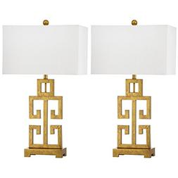 Safavieh Lighting Collection Greek Key Antique Gold 28.75-in