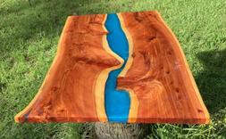 Handmade Live Edge Red Cedar Wood Blue Accent Coffee Accent