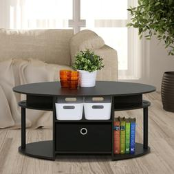 Living Room Furniture Wooden Oval Coffee Center Table with S
