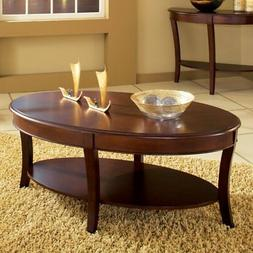Oval Coffee Table Living Room with Shelf Cocktail Tables Woo