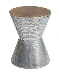 East at Main Lupton Silver Teakwood Round Accent End Coffee