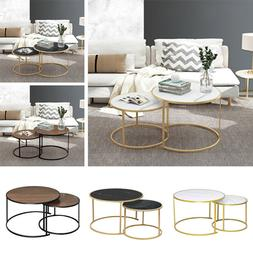 Marble Vein Round Coffee Tables Set Sofa Side Nested End Tab