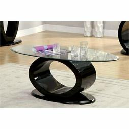 Furniture of America Mason Oval Glass Top Coffee Table in Bl