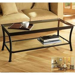 Mendocino Coffee Table, Metal and Glass