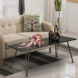 Metal Frame Cocktail Coffee Table Faux Marble Rectangular Ac