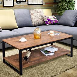 Metal Frame Rectangle Coffee Table Accent Cocktail Table Liv