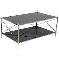 mirrored coffee table in nickel