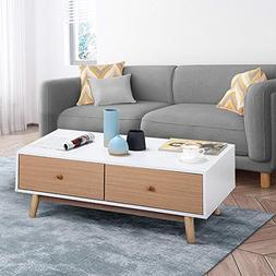 Yaheetech Modern Coffee Table/End Table Cabinet with Drawers