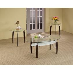 modern 3 piece glass top coffee table