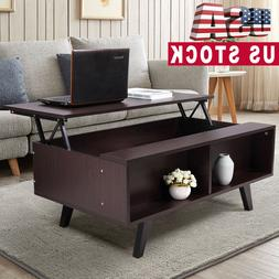 """Modern 39.5"""" Lift Top Coffee End Table Wood w/ Storage Space"""