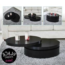 Modern Black Coffee Table Round Rotating Contemporary Living