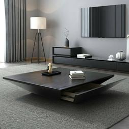 Homary Modern Black Coffee Table with Storage Square Coffee