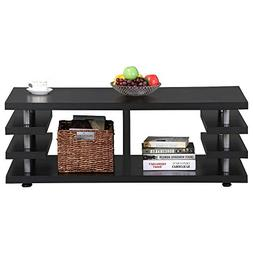Yaheetech Modern Black Wood Coffee Table Iron Tube Legs Mult